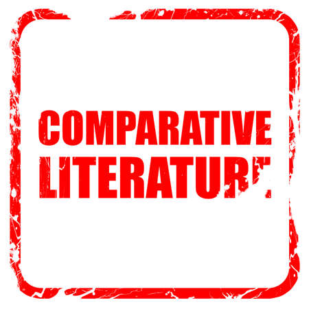 comparative: comparative literature, red rubber stamp with grunge edges