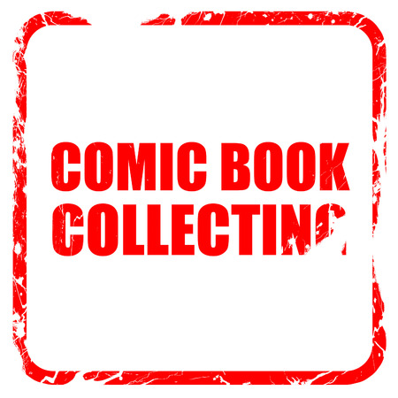stamp collecting: comic book collecting, red rubber stamp with grunge edges Stock Photo