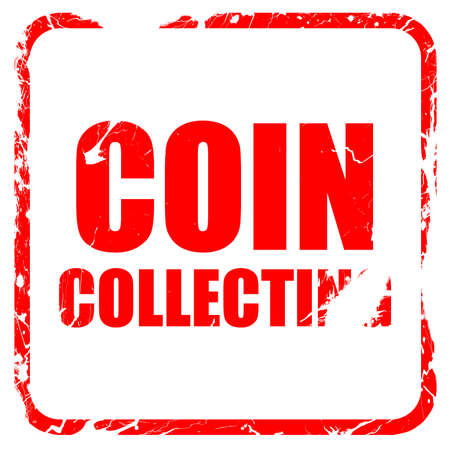 stamp collecting: coin collecting, red rubber stamp with grunge edges