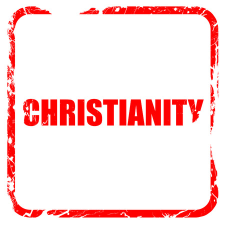 christianity: christianity, red rubber stamp with grunge edges