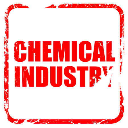 isolation tank: chemical industry, red rubber stamp with grunge edges
