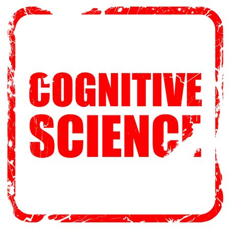 cognicion: ciencia cognitiva, sello de goma de color rojo con bordes grunge Foto de archivo