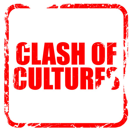 clash: clash of cultures, red rubber stamp with grunge edges
