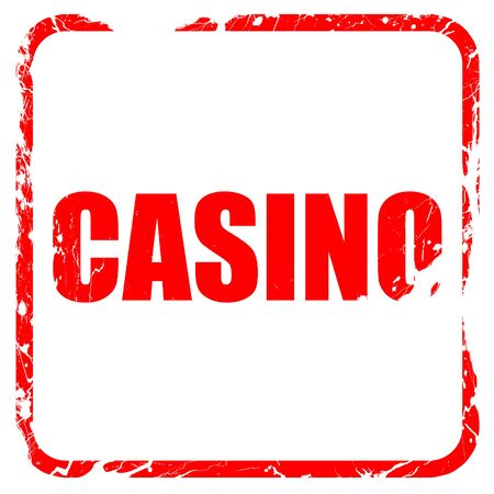 gamblers: casino, red rubber stamp with grunge edges