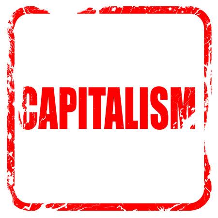capitalism: capitalismo, sello de goma de color rojo con bordes grunge