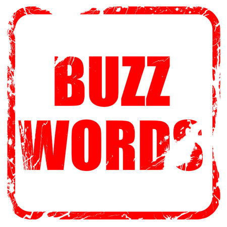 buzzword: buzzword, red rubber stamp with grunge edges