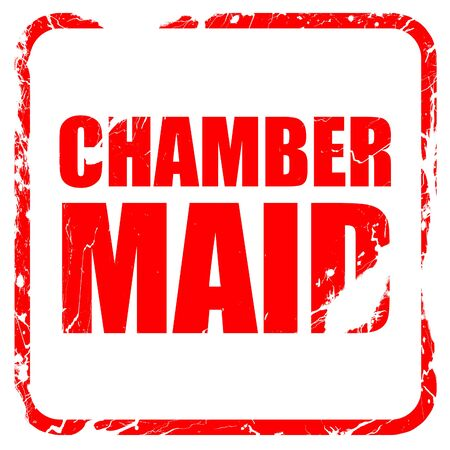roomservice: chamber maid, red rubber stamp with grunge edges Stock Photo