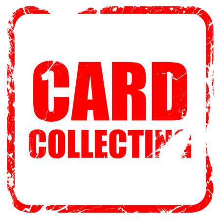 stamp collecting: card collecting, red rubber stamp with grunge edges