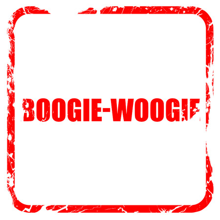 boogie: boogie woogie, red rubber stamp with grunge edges