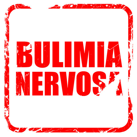 bulimia: bulimia nervosa, red rubber stamp with grunge edges