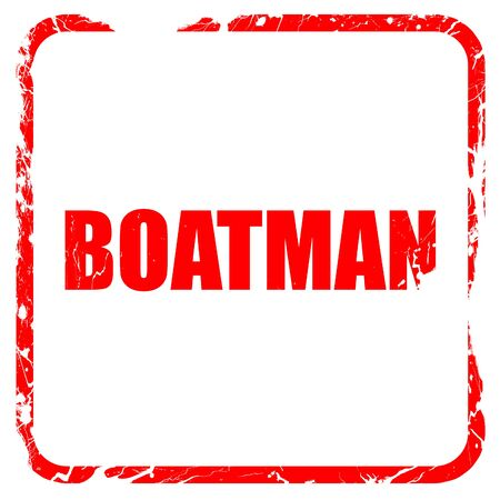 boatman: boatman, red rubber stamp with grunge edges Stock Photo