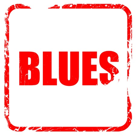 blues music: blues music, red rubber stamp with grunge edges