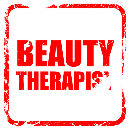 beauty therapist: beauty therapist, red rubber stamp with grunge edges