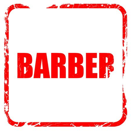 masculinity: barber, red rubber stamp with grunge edges