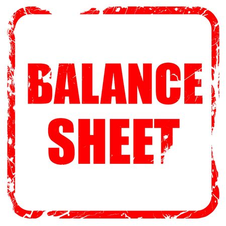 rubber sheet: balance sheet, red rubber stamp with grunge edges