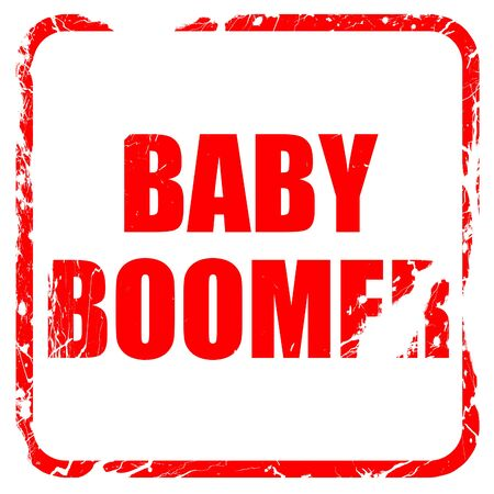 baby boomer: baby boomer, red rubber stamp with grunge edges