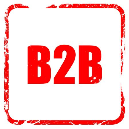 b2b: b2b, red rubber stamp with grunge edges