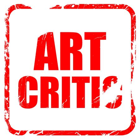 critic: art critic, red rubber stamp with grunge edges