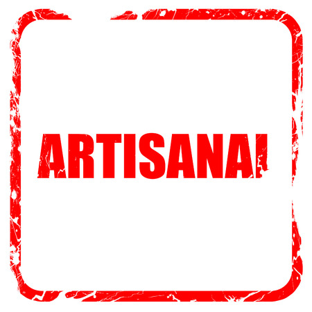 artisanal: artisanal, red rubber stamp with grunge edges Stock Photo
