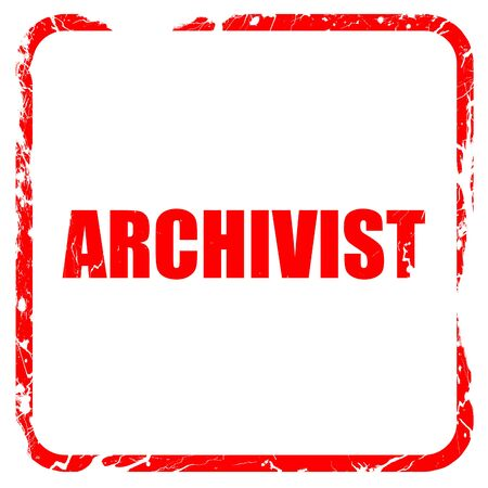 editions: archivist, red rubber stamp with grunge edges Stock Photo
