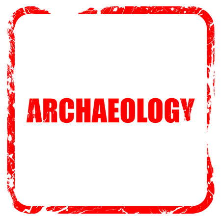 archaeology: archaeology, red rubber stamp with grunge edges