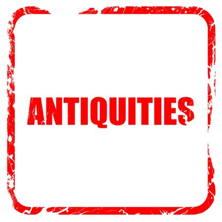 antiquities: antiquities, red rubber stamp with grunge edges