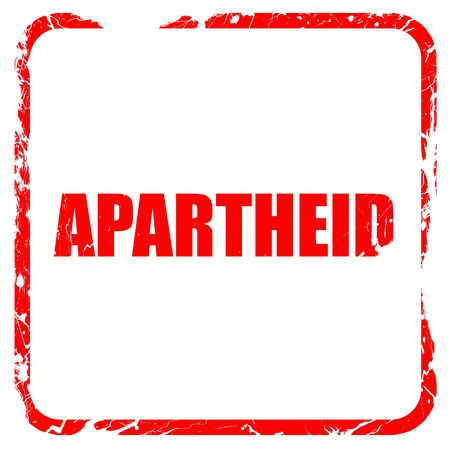 apartheid in south africa: apartheid, red rubber stamp with grunge edges