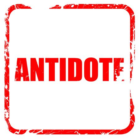 antidote: antidote, red rubber stamp with grunge edges