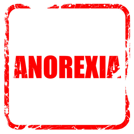 anorexia: anorexia, red rubber stamp with grunge edges