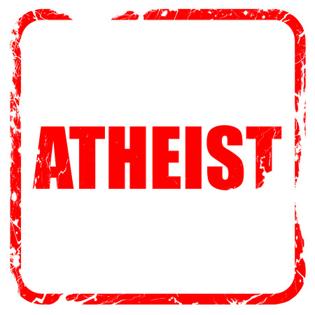 nonbelief: atheist, red rubber stamp with grunge edges Stock Photo
