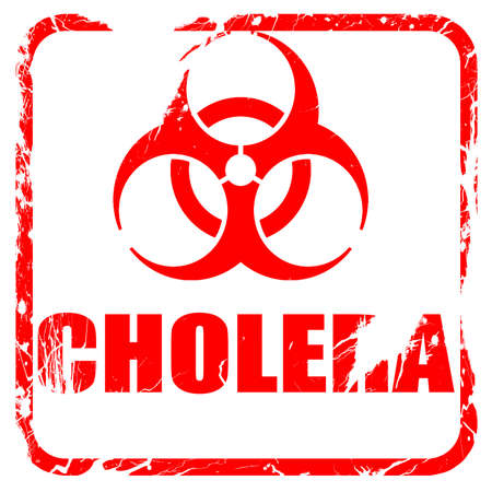 cholera: Cholera concept background with some soft smooth lines, red rubber stamp with grunge edges