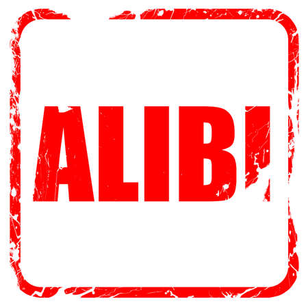 juror: alibi, red rubber stamp with grunge edges Stock Photo