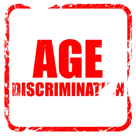 pension cuts: age discrimination, red rubber stamp with grunge edges Stock Photo