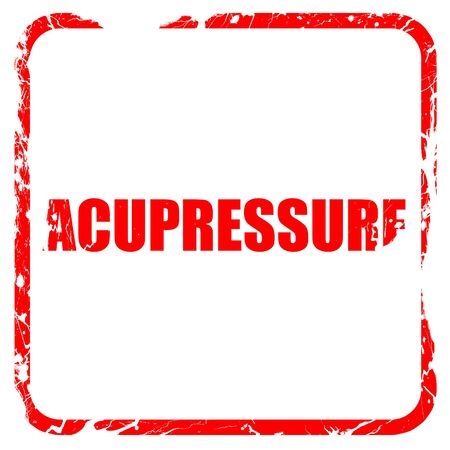 acupressure, red rubber stamp with grunge edges