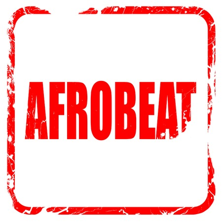 percussionist: afrobeat music, red rubber stamp with grunge edges