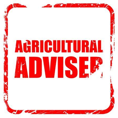 adviser: agricultural adviser, red rubber stamp with grunge edges