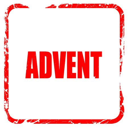 advent: advent, red rubber stamp with grunge edges