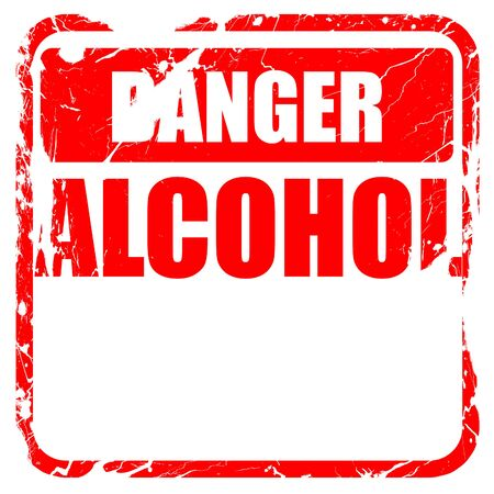 dependance: Alcohol abuse sign with some soft flowing lines, red rubber stamp with grunge edges