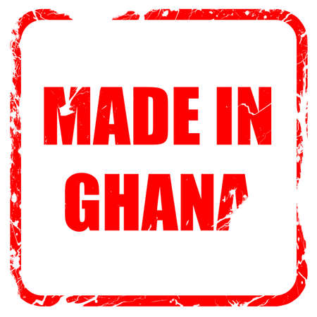 ghanese: Made in ghana with some soft smooth lines, red rubber stamp with grunge edges