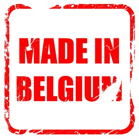made in belgium: Made in belgium with some soft smooth lines, red rubber stamp with grunge edges Stock Photo