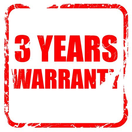 3 5 years: 3 year warranty, red rubber stamp with grunge edges