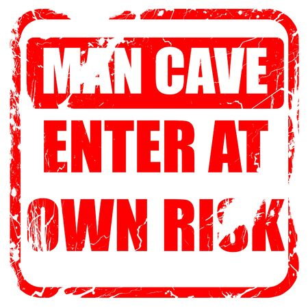 isolation: man cave sign with some soft lines, red rubber stamp with grunge edges Stock Photo