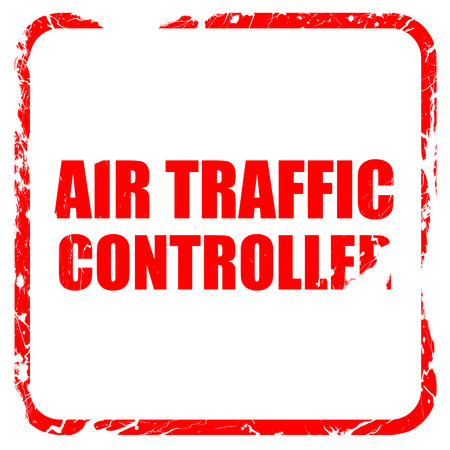 traffic controller: air traffic controller, red rubber stamp with grunge edges Stock Photo