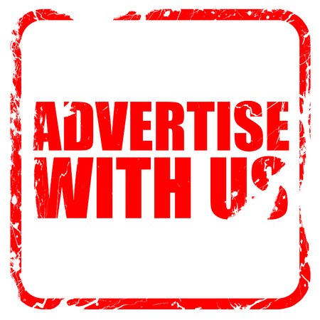 advertise with us: advertise with us, red rubber stamp with grunge edges