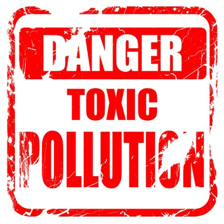 waste prevention: Toxic Pollution waste sign with some smooth lines, red rubber stamp with grunge edges Stock Photo