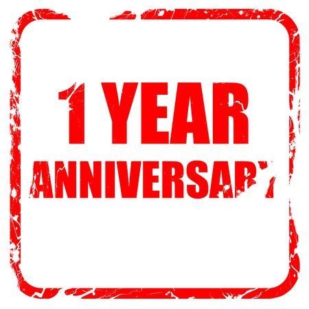 1 year: 1 year anniversary, red rubber stamp with grunge edges