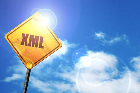 xml: xml, 3D rendering, a yellow road sign