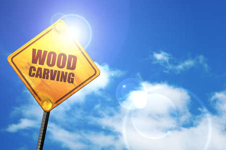 wood carving 3d: wood carving, 3D rendering, a yellow road sign