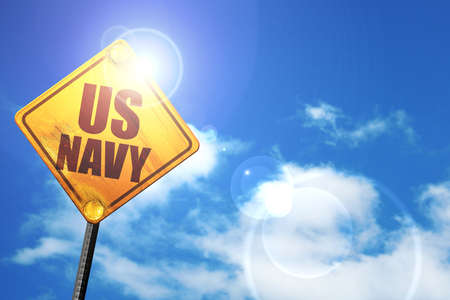 corps: us navy, 3D rendering, a yellow road sign