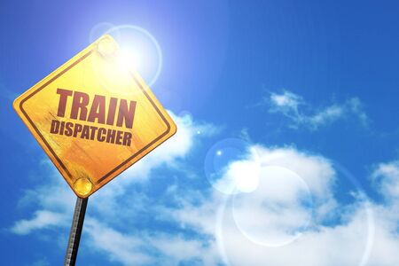 dispatcher: train dispatcher, 3D rendering, a yellow road sign Stock Photo